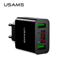 USAMS LED Display Dual USB Phone Charger EU/US Plug The Max 2.2A Smart Fast Charging Mobile Wall Charger for iPhone iPad Samsung(China)