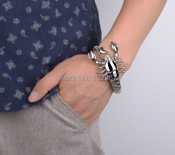 Silver Men/'s Scorpion Chain Biker Bracelet Charm Bangle 316L Stainless Steel