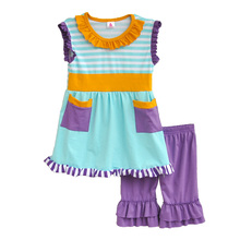 Boutique Remake Kids Spring Summer New Outfits Stripes Sleeveless Top With 2 Pockets Purple Ruffle Shorts Girls Clothing S024