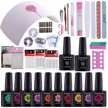 Full Nails Tools Set Soak Off Nail Gel Polish Fashion 24W UV Lamp Nail Art Manicure Kit Gel Varnish DIY Kits Led Sun Lamp kits(China)