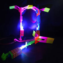 3pc LED Light Rocket Arrow Helicopter Flying Toy Party Fun Gifts For Kids