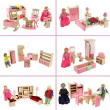 Wooden Dolls House Furniture Miniature Kitchen Bed Living Room Restaurant Bedroom Bathroom For Kids Children Toy Christmas Gifts(China)