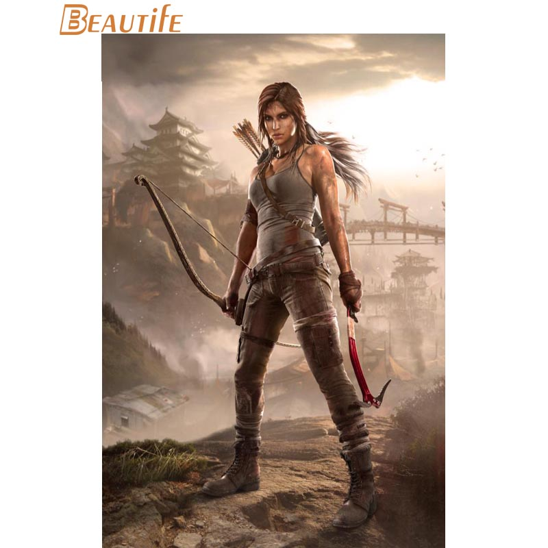 Rise of The Tomb Raider Game Silk Poster 13x24 24x43 inch Lara Croft and Bear
