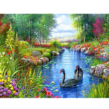 5d diy diamond painting cross stitch Swan Lake picture round drill diamond mosaic pattern diamond embroidery arts and crafts(China)