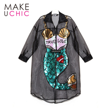 MAEUCHIC 2017 Apparel Summer Sexy Sheer Dress Mermaid Sequined Sweet Midi Dress Zipper Loose Patchwork Streetwear Chic Vestido