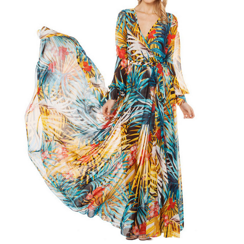Tropical Bohemian Chiffon Maxi Dress Robe (Us 6 -16)