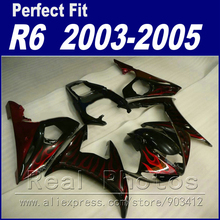Hot sale motorcycle parts for YAMAHA R6 fairing kit 2003 2004 2005 red flame in black Fit YZF R6 fairings 03 04 05(China)