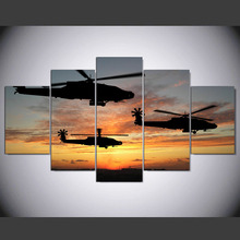 5 panel modern Helicopter air flight hd Art print canvas art wall framed paintings for living room wall picture kn-450(China)