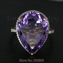 Very Popular Vintage Solid 14Kt Rose Gold Diamond Purple Amethyst Ring CT1320(China)