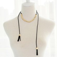 Fashion exaggeration elegant personality circular alloy combination black choker Ms adjustable Line fringe tassels necklace