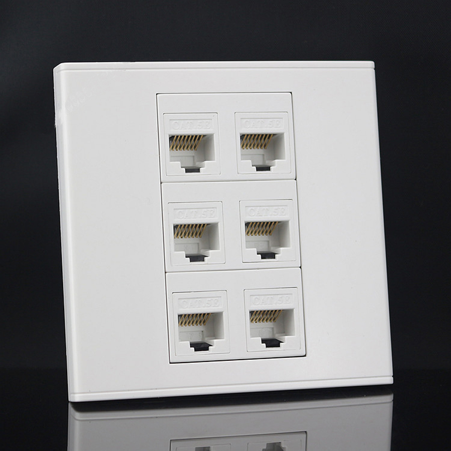 New six Ports 86mm cat6 Keystone Wall plate Faceplate rj45 jack modular Face plate Socket rj45 wall socket panel(China)