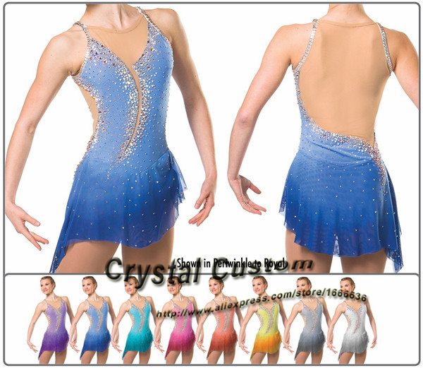 2016 Custom  Figure Skating Dresses With Spandex New Brand Vogue Figure Skating Competition Dress Customized  DR3003