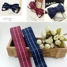 5 yards DIY head hair jewelry materials imported from South Korea 38MM Blue Ribbon Ribbon lattice wine red ribbon cotton belt(China)