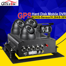 Built-in GPS Moduel I/O Alarm Hard Disk Vehicle Recorder 4Channel Record GPS Track Video Playback Cycle Recording Mobile Dvr(China)