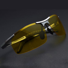 Hot Sale men's aluminum-magnesium car drivers night vision goggles anti-glare polarizer sunglasses Polarized Driving Glasses+BOX(China)