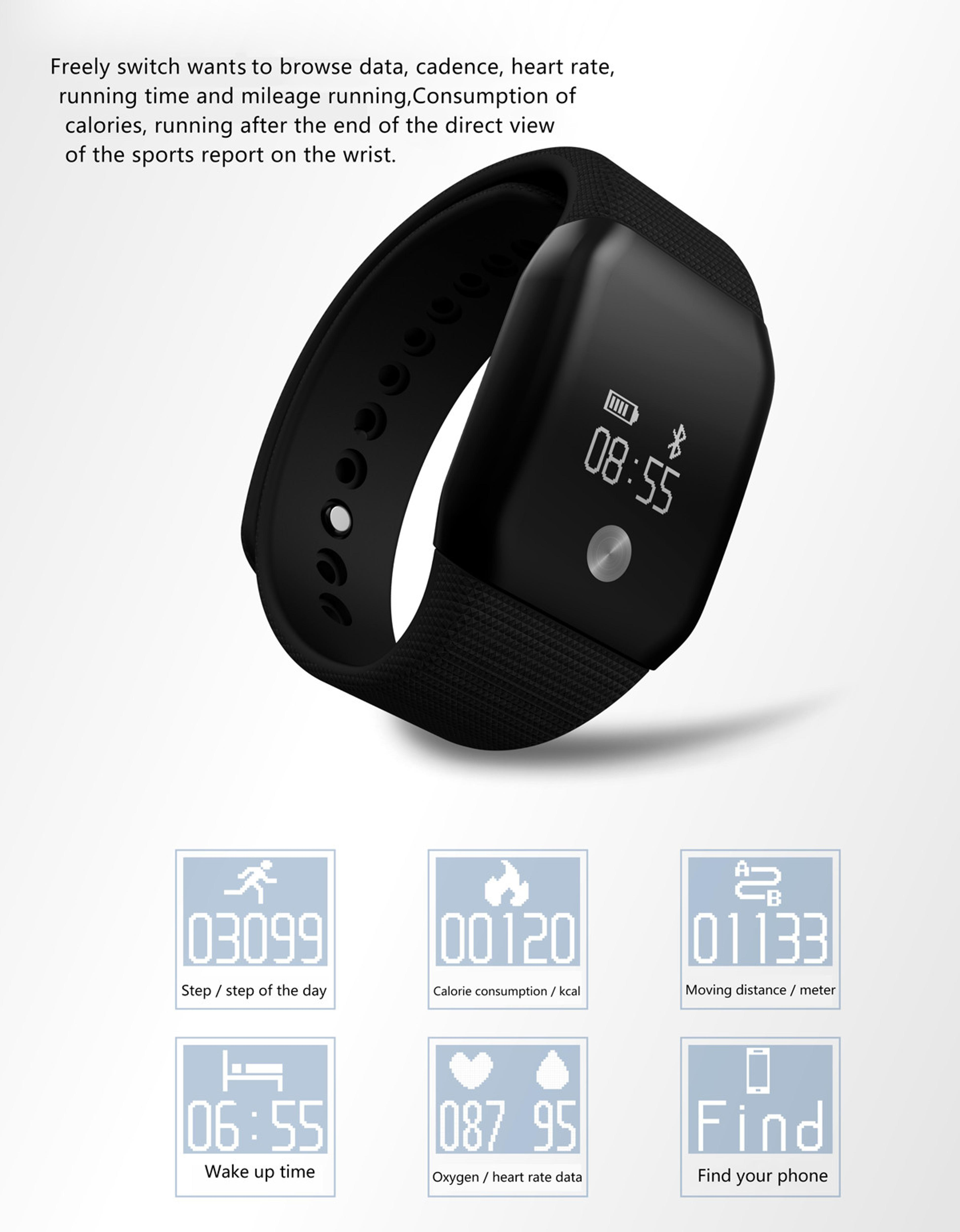 A100 Smart Bracelet Sport Pedometer SmartBand Heart Rate Fitness Watch Blood Oxygen Pressure Monitor Wristband For iOS Android 6