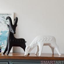 Modern Abstract Goat Figurine Deer Sculpture Ornaments Fashion White and Black Home Decoration Creative Wedding Gifts(China)