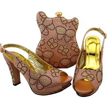 New Matching Shoes and Bag Set Peach Color African Shoe and Bag Set Italian Design Matching Shoes and Bags for African Parties