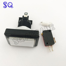 12v 33*51mm rectangle white lighted led push button straight edge for on tough arcade machine