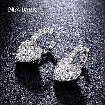NEWBARK Classique Coeur Boucles D'oreilles Or Blanc Plaqué Anneau D'oreille Pavée Zircon Bijoux Pour Les Femmes De Mariage
