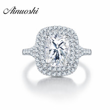 AINOUSHI Luxury Quality SONA Wedding Ring Amazing 2.5 Carat Cushion Cut Engagement Rings Women Big Rings Anniversary
