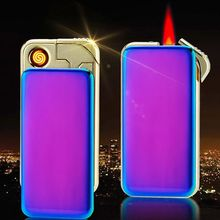 Double Design Metal Plating Usb Lighter + Gas Lighter Flame Windproof Lighter Electronic Cigarette Lighter Business Gifts -709(China)