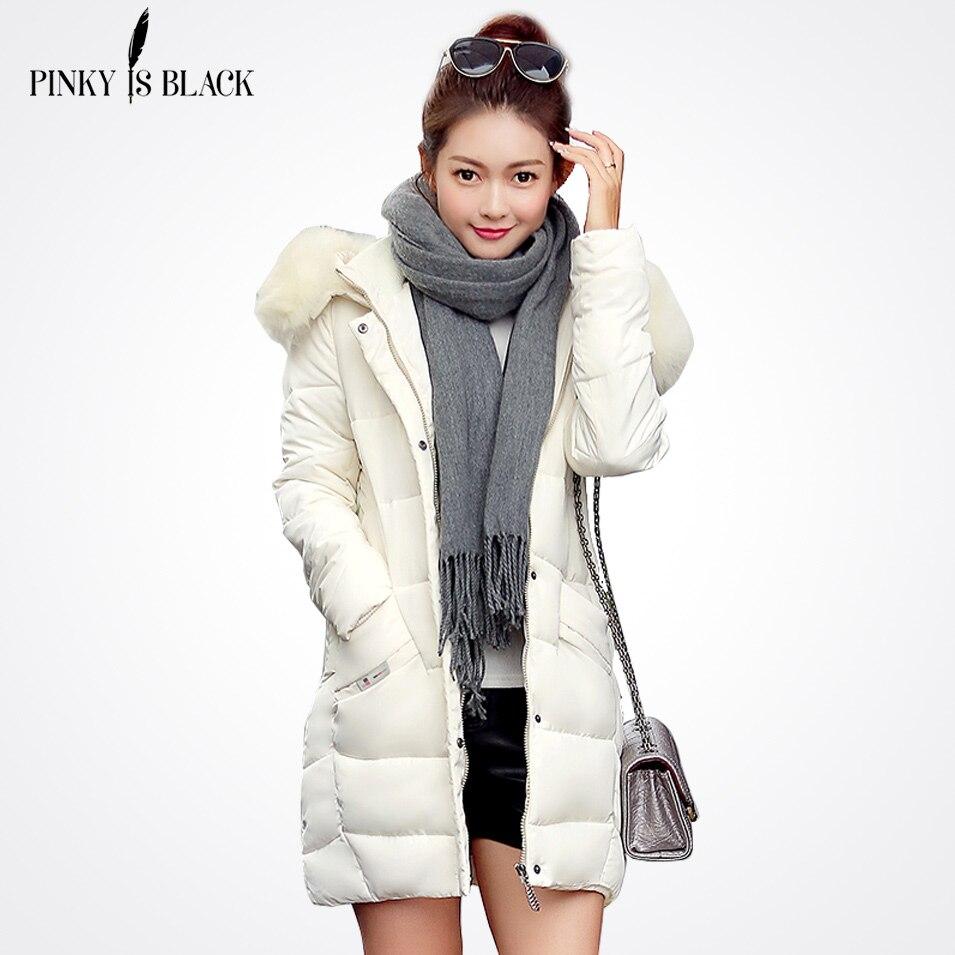 Pinky Is Black 2017 Women parka thickening jacket female winter jacket women outerwear large fur down cotton jacket casual coatsÎäåæäà è àêñåññóàðû<br><br>