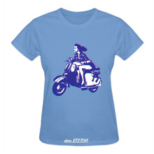 RTTMALL Cotton Female t-shirts Clothes Low Price CrewNeck Cute Vespa Scooter Girl Women's Style Tee-shirt Hipster Vehicle Tops(China)