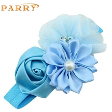 Headwear Hot 2017 SIF 1 Pieces Cute Novelty Pearl Rose Flower Hair Band Chiffon Headband Ribbon Elasticity Hair Accessories