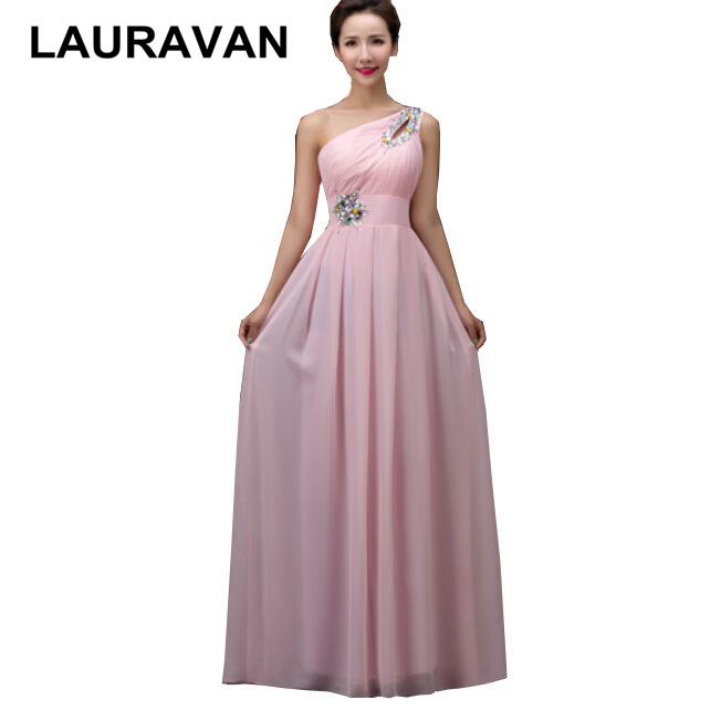 damas de bride long chiffon hot pink red green blue color one shoulder prom dresses woman robes sister of bride dress gown