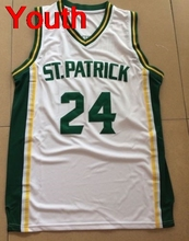 Youth Embroidery Stitched Kyrie Irving 24 St. Patrick High School White Basketball Jersey Throwback shirt for kids fans gift(China)