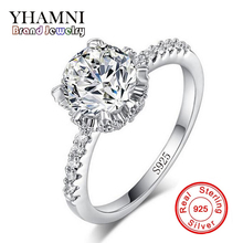 YHAMNI Wedding Pure Solid 100% 925 Sterling Sliver Ring 1 Carat CZ Zircon For Women Gift Vintage Jewelry JZA068(China)