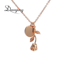 Duoying Rose Gold Color Flower and Disc Necklace Personalized Custom Name Graduation Gift for Her Choker Necklace for Etsy eBay(China)