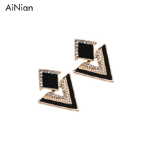 AiNian Colorful Enamel Rhinestone Party Earring Geometric Drop Triangle Earrings For Women Fashion Accessories Jewelry(China)