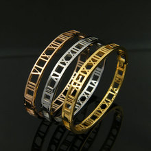 Hot Sale Fashion Charm Bijoux Hollow Roman numerals Gold Color 316L Stainless Steel Bangle Bracelet For Women Gift Cuff  Bangle