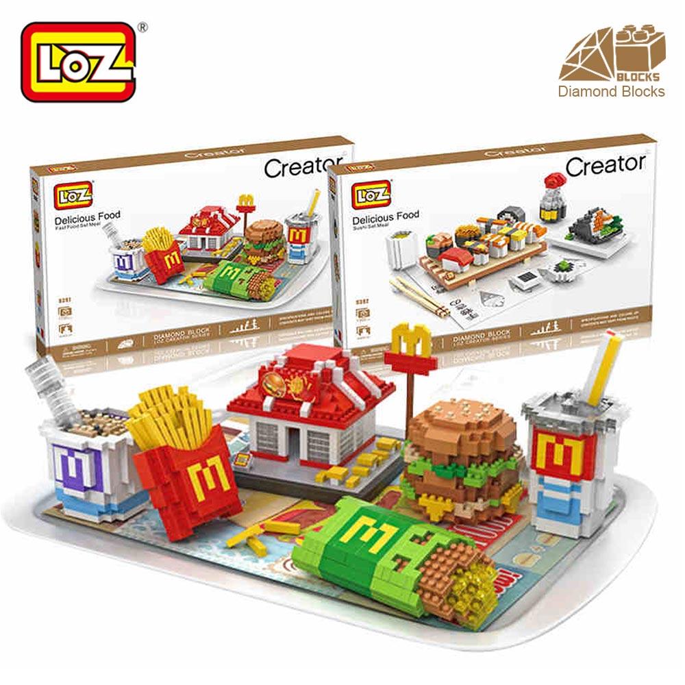 Mr.Froger LOZ Hamburger Sushi Mooncake Delicious Food model Diamond block creator series Pixel Building Blocks Gift Micro Bricks<br>
