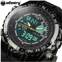Genuine INFANTRY Luxury Brand Analog LED Watches Men Rubber Quartz Clock Men's Tactical Chronograph Sports Wrist Watch Relogios(Hong Kong)