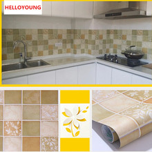 HELLOYOUNG PVC Private Kitchen oil-proof Self-adhesive Mosaic Tile Style Bathroom waterproof Matte Surface Wall Sticker