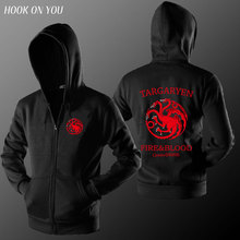 2016 Game of the throne Sweatshirt Men Hoodies Solid Fleece Hoodie Mens casual cardigan Men's Tracksuits Moleton Masculino