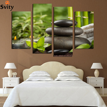 4 Panels Chinese Style Art Stone Leaves Decoration Picture Canvas Print Painting Artwork Canvas Wall Art Unframed F1767