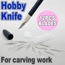 Buy Hobby Knife + 12pcs Blade Knives set, Stainless steel Pen Knives paper plastic,cloth,leather multi-purpose DIY tool work for $3.30 in AliExpress store