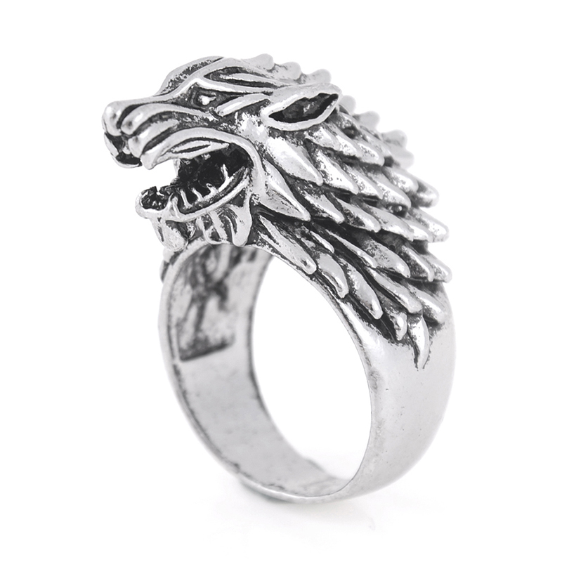 Punk Ring Men Vintage Wolf Head Rings Silver Plated Stainless Wolf Rings Cool Gothic Man Finger Ring