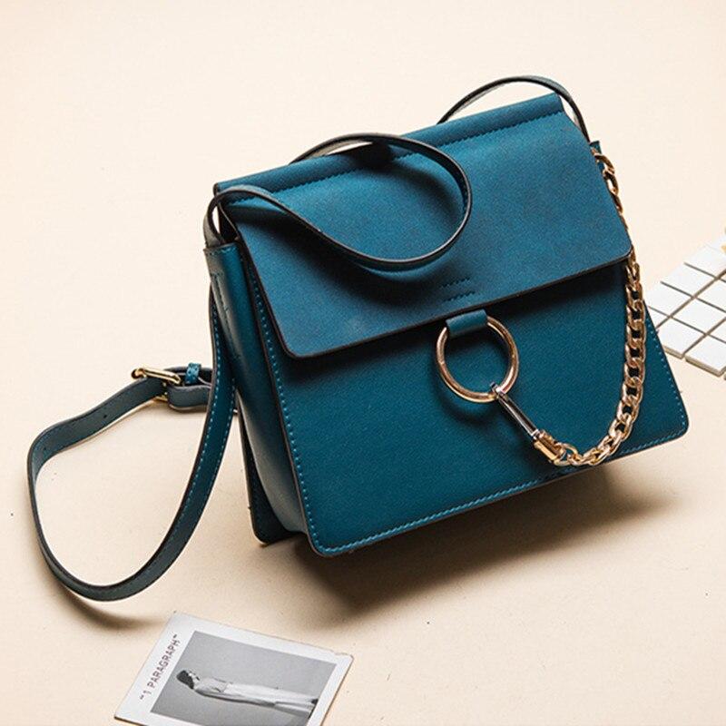 Luxury Brand Nubuck Women Shoulder Bag Scrub Leather Handbag Square Women Messenger Bag Famous Designer Metal Chain Ring Handbag<br>