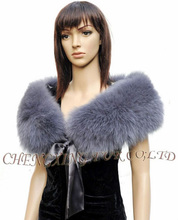 CX-B-78D Latest Fashion Design Genuine Exquisite Fox Fur Cape Shawl With Satin Lace For Ladies(China)
