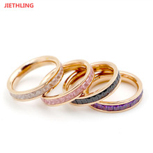 Costume Jewelery Wedding Rings For Couples Gifts Full Circle White/Black/Pink/Purple Ice Crystal Women/Men Rings Anel Masculino(China)