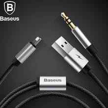 Baseus 2 in 1 Aux Audio Cable For iPhone Adapter splitter For iPhone 8pin to USB and jack 3.5mm for Headphone Car Aux speaker