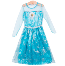 Formal Fancy Long Blue Girls Dresses Costume Princess kids Baby Girl Clothes Dress Cartoon Halloween Cosplay Clothing 2-6Y Kid