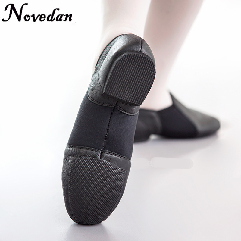Slip On Jazz Dance Sneakers Dancing Shoes For Ladies Black Tan Leather Dance Shoes Jazz Dance Shoes For Woman Kids