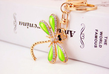 free shipping 12pcs/lot rhinestone dragonfly keychain purse hanger favors for wedding favors, birthday party return goods