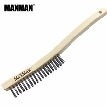 MAXMAN 3039BWB 3x19 Row Long Embayment Handle Coarse Carbon Steel Wire Scratch Brush